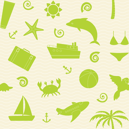 Vector seamless pattern with beach vacation icons Vector