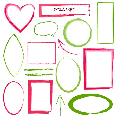 Set of grunge brush frames