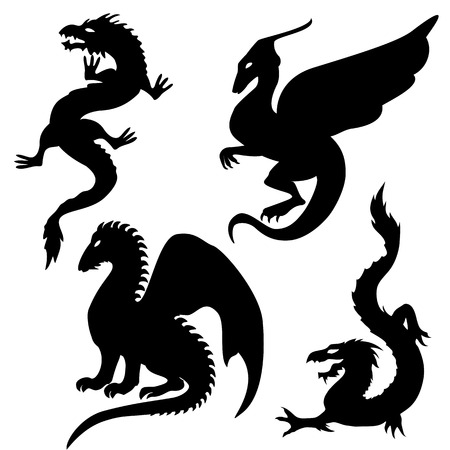 black and white dragon: Dragon silhouettes set Illustration
