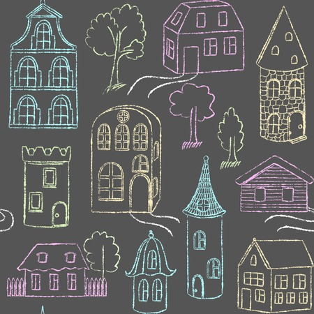 Seamless pattern with doodle houses Illustration