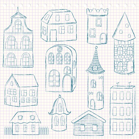 Set of doodle houses on checkered page