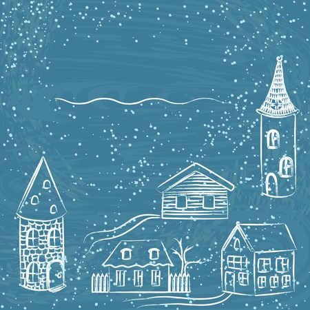 Winter card with doodle houses Illustration