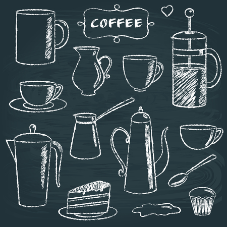Set of chalkboard coffee items Vector