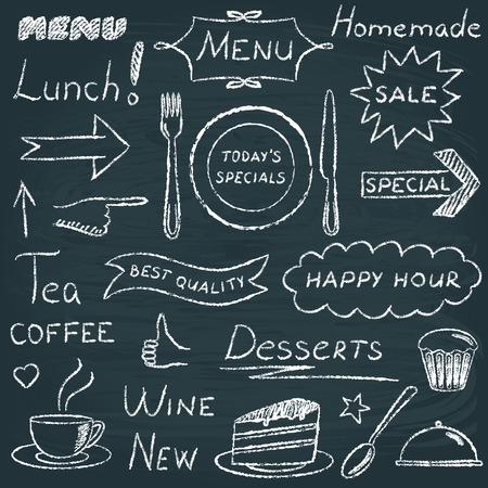 crayon drawing: Set of restaurant menu design elements