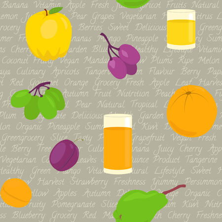 Seamless pattern with fruits and text