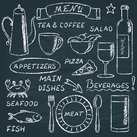 Chalkboard menu elements set 2 Vector