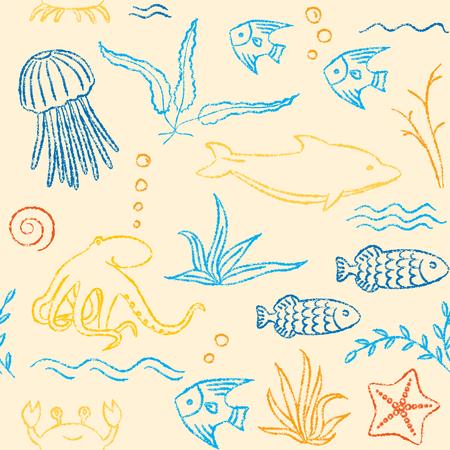 sealife: Sealife hand drawn seamless pattern