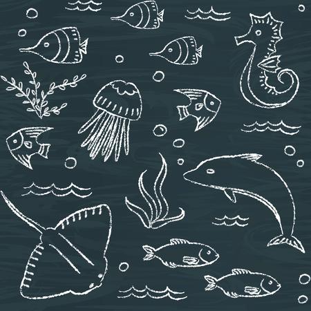 sealife: Sealife chalkboard seamless pattern