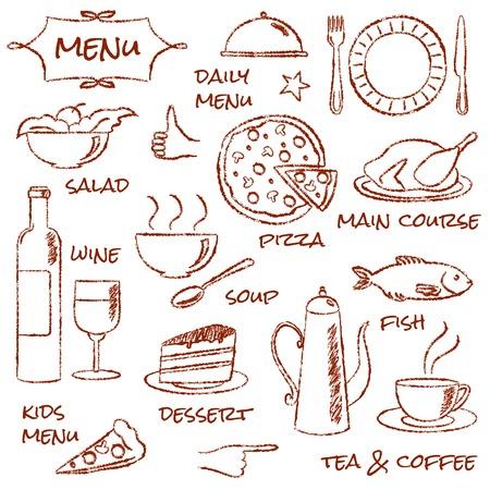 Hand drawn menu elements set Vector