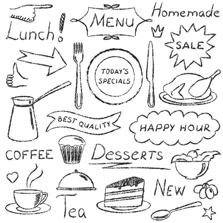 Set of hand drawn menu elements isolated on white Illustration