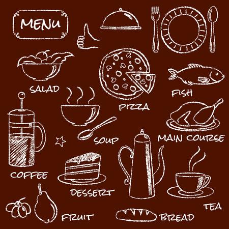 main course: Hand drawn menu elements set