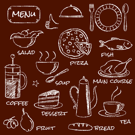 Hand drawn menu elements set