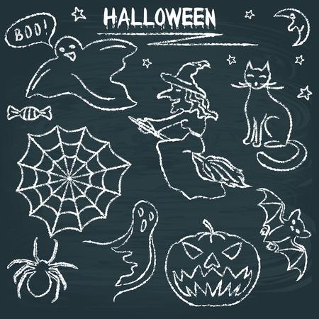 Chalkboard Halloween silhouette set Illustration