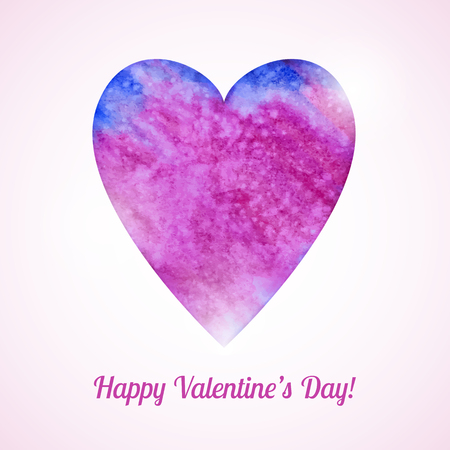 Romantic vector card with pink watercolor heart Vector
