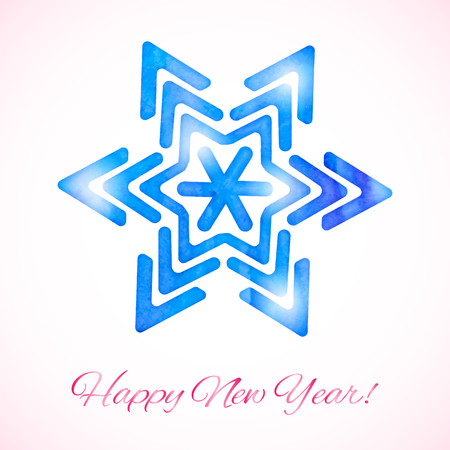 Greeting card with shining watercolor snowflake and text Illustration
