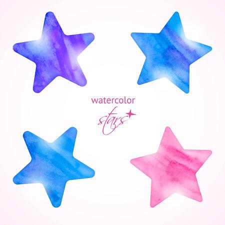 Shining watercolor stars icon set. Vector illustration Illustration