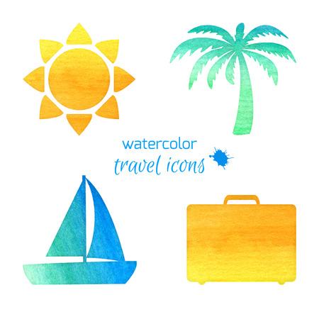 Watercolor travel icons Vector