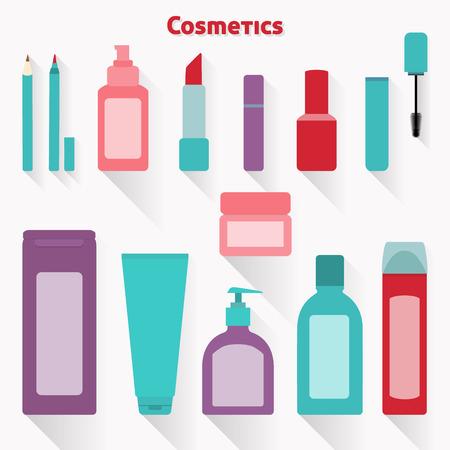productos de belleza: Colección de maquillaje plana y los iconos de cosméticos