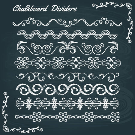 Chalkboard collection of calligraphic design elements