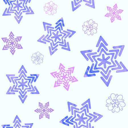 Seamless winter pattern with violet watercolor snowflakes Vector