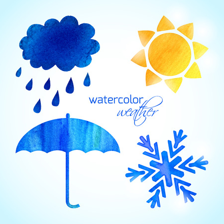 collection of bright watercolor weather icons Vector