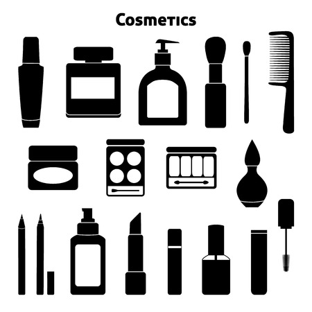 Collection of cosmetics and makeup silhouettes isolated on white Vector
