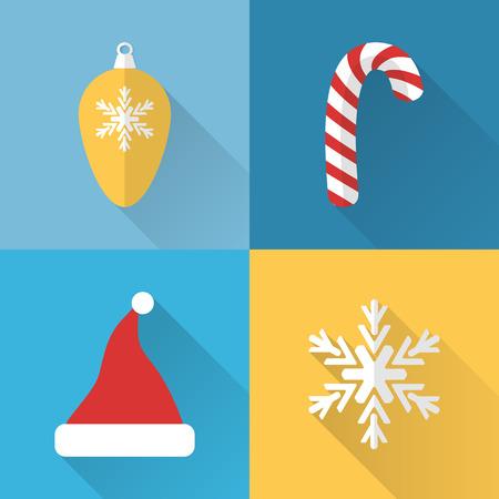 Flat Christmas icons set