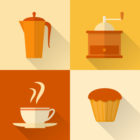 Collection of flat style coffee icons with long shadow Vector