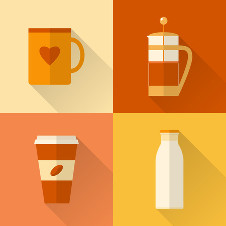 Collection of flat style coffee icons with long shadow