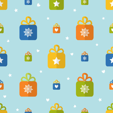 Seamless pattern with gift boxes in flat style Illustration