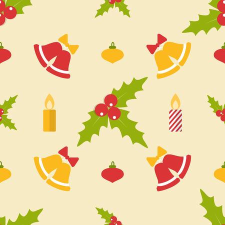 muerdago: Navidad sin patr�n, con campanas y mu�rdago en estilo plano Vectores