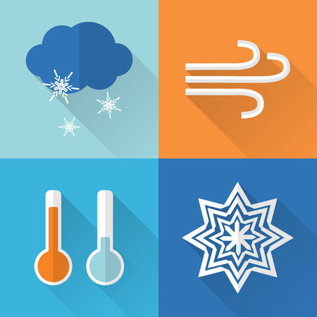 Flat style weather icons with long shadow