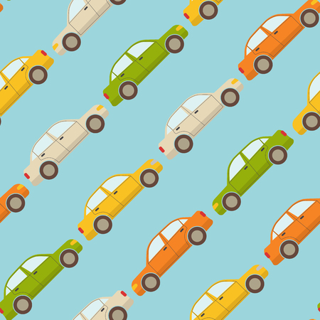 Seamless pattern with colorful cars on blue background