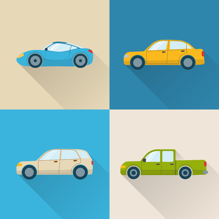 Set of flat car icons with long shadow