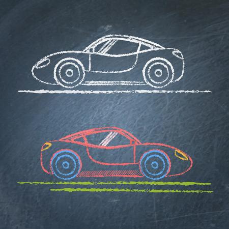Sports car sketch on chalkboard Çizim
