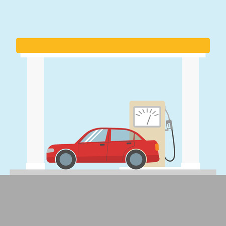 Car at the gas station  イラスト・ベクター素材