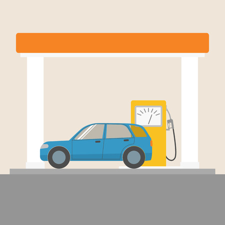 Car at the gas station Illustration