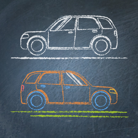 Car sketch on chalkboard