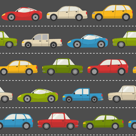 the traffic jam: Seamless pattern with colorful cars on the road