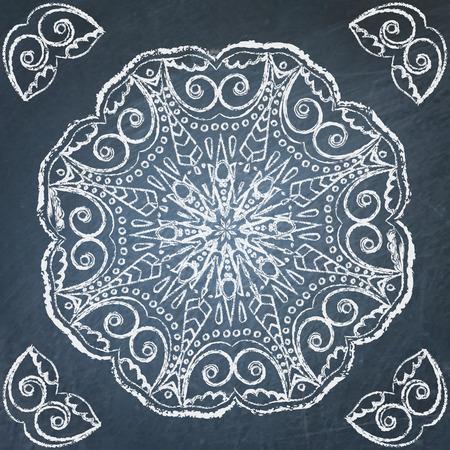 Round filigree hand drawn ornament on chalkboard Vector