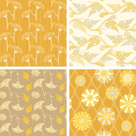aster: Collection of floral seamless patterns with flowers and leaves
