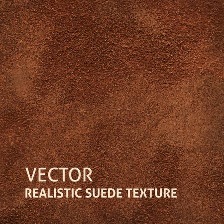 Closeup brown suede texture. Grunge vector background.