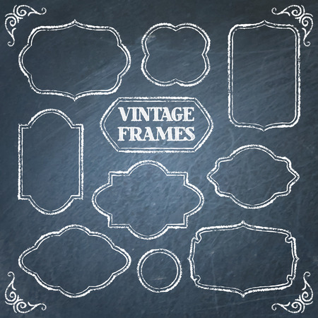 Collection of vintage chalkboard frames with space for text  イラスト・ベクター素材