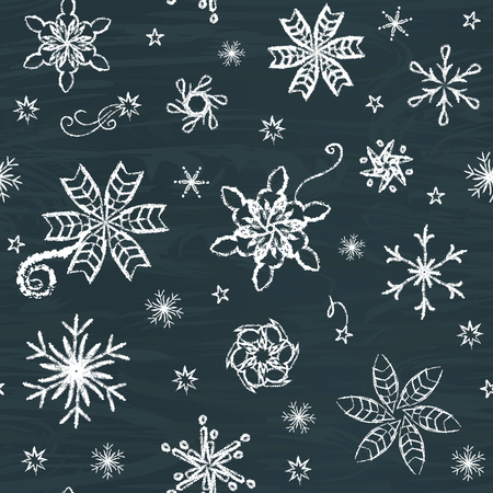 chalk drawing: Seamless pattern with hand-drawn snowflakes on chalkboard