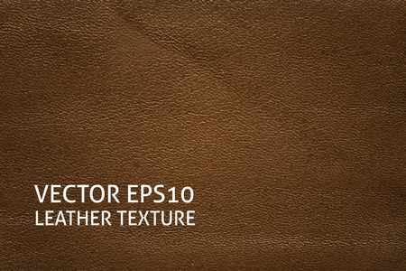 cowhide: Closeup brown leather texture. Horizontal vector background.