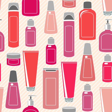 Seamless pattern with cosmetics bottles over striped background