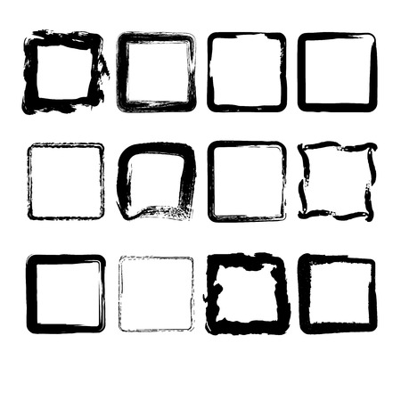 marked boxes: Set of hand drawn grunge square frames