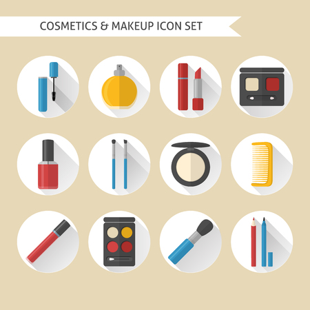 Collection of flat makeup and cosmetics icons