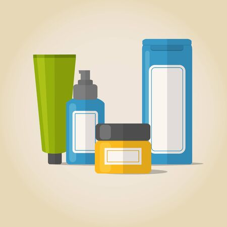 Set of cosmetic bottles in flat style Illustration