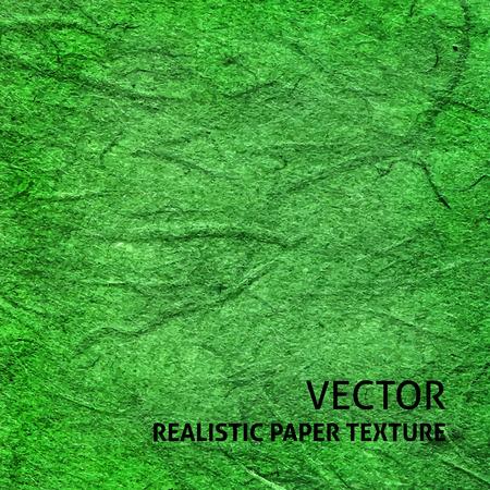 Green textured paper background. Grunge vector texture.